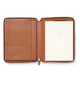 Graf-von-Faber-Castell - Writing case A4 Epsom, zipper/ tablet compartment, cognac